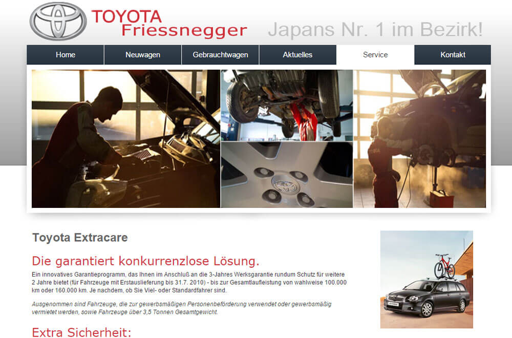 Webseite TOYOTA FRIESSNEGGER