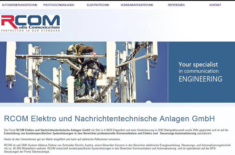 Webseite RCOM Elektro und Nachrichtentechnische Anlagen