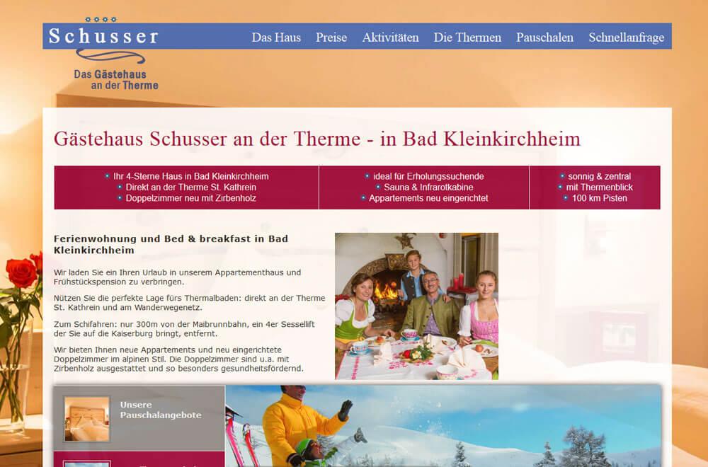 Webseite Gästehaus Schusser an der Therme