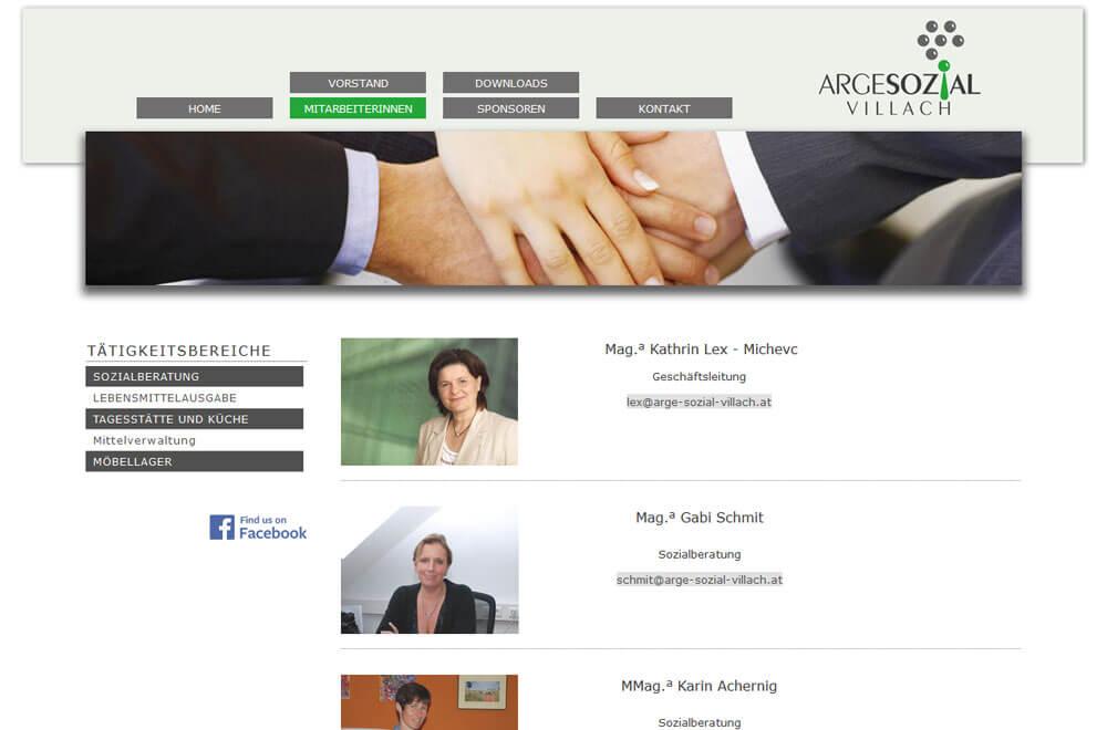 Webseite ARGE SOZIAL