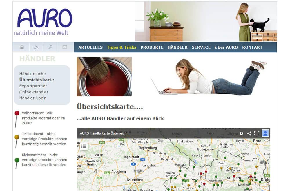 Webseite AURO Naturfarben