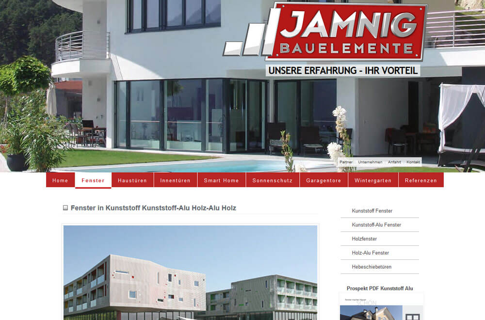 Webseite Jamnig Bauelemente