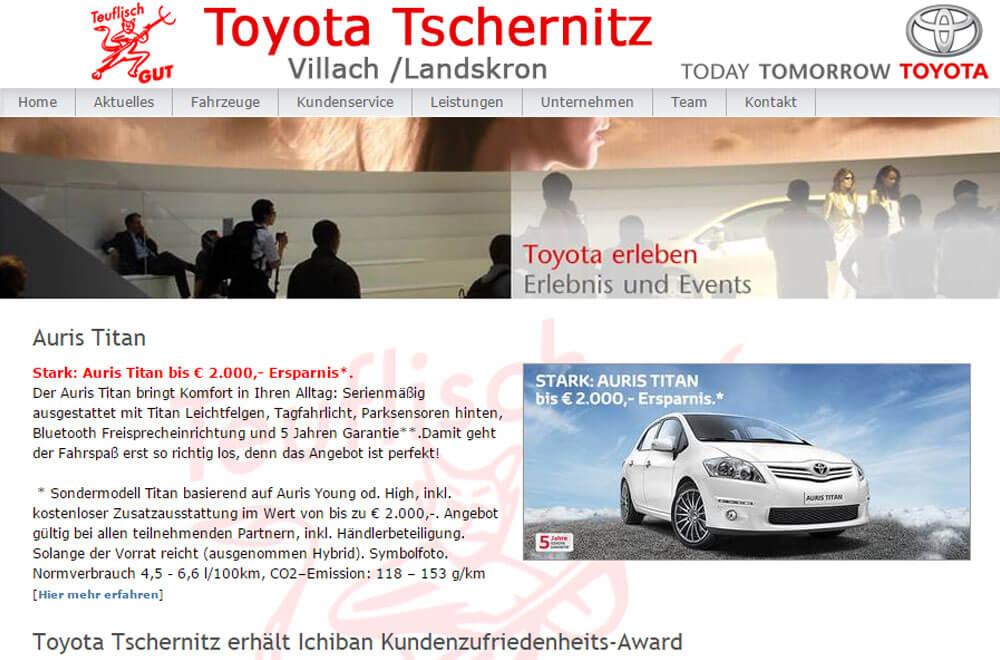 Webseite Autohaus Toyota Tschernitz
